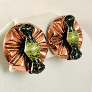 GORGEOUS Vintage RENOIR MATISSE Green Enamel Hourglass Copper Clip on Earrings