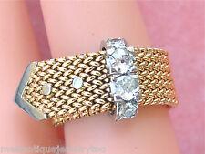 VINTAGE RETRO .61ctw MINE DIAMOND WOVEN PINK 18K BELT BUCKLE BAND RING 1940s