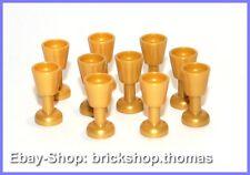 Lego 10 x goldene Kelche Becher Glas / golden Goblet Pearl Gold - 2343 - NEU/NEW