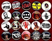 "20 x Hip Hop Rap 1"" pin old school gangster street east west coast LA NYC bronx"