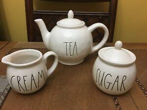 RAE DUNN teapot TEA creamer CREAM sugar bowl SUGAR set NEW