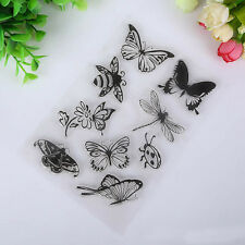 Butterfly and Bee Transparent Clear Rubber Stamp Seal Paper Craft Scrapbooking