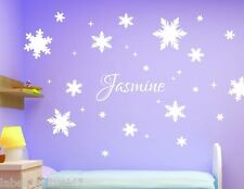 SNOWFLAKES Frozen Theme Wall Stickers with Any Custom Name