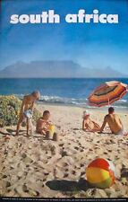 SOUTH AFRICA CAPE TOWN BEACH 1968 Vintage TOURISM TRAVEL poster 25x40
