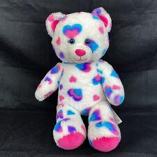 Build A Bear Pink Purple Blue Hearts Teddy Bear Stuffed Animal Plush Toy