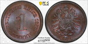 Germany 1889-G 1 Pfennig, KM-1, PCGS MS66BN