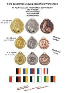 100 Stk.Fussball Relief Medaillen (45-32mm) nach Wahl m.Band & Text ab 50,95 EUR