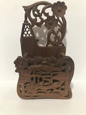 Hand Carved In India Mail Post Wall Caddy Signed