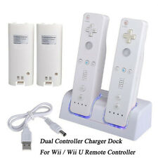 For Wii / Wii U Remote Controller Charger Charging Dock Station +2Batteries New