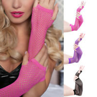 NE_ Sexy Women Fishnet Half Hand Fingerless Long Gloves with Thumb Hole Sanwood