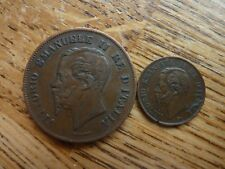 1862N 5 centesimi & 1867 M 1 Centesimi Italie Vittorio Emanuele II monnaie
