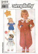 80's VTG Simplicity Toddlers' Dress,Jumpsuit,Romper Pattern 9468 Size 1/2-3 UNC