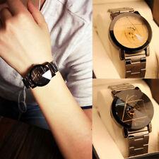 Luxury Men Women Stainless Steel Compass Unisex Watch Quartz Analog Wrist Watch