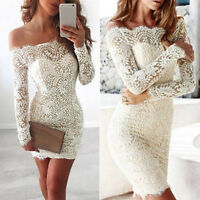 New Womens Ladies Off Shoulder Long Sleeve Lace Mini Dress Evening Party Dresses