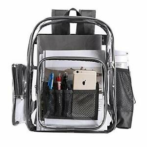 Heavy Duty Transparent Clear Backpack See Through School, Work, Sporting Events