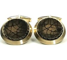Vintage Brown Stone Gold Cufflinks Streaked Stone Mens Sarah Coventry