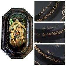 Signed Russian Lacquer Box Hand Painted Fairytale Print Rare Hard To Find