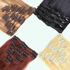 DE 8 Tressen Glatt Clip In 100% Remy Echthaar Extensions Haarverlängerung WX012