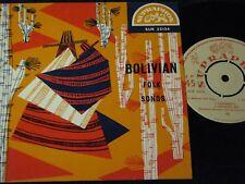 BOLIVIAN FOLK SONGS Hermanas Espinoza... / Czech SP SUPRAPHON SUL 32134