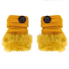 Fashion Warm Winter Women's Rabbit Fur Leather Wrist Fingerless Gloves Mittens