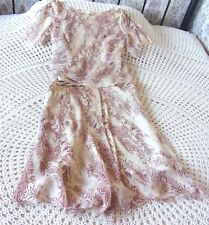 Delicate lightweight silk party outfit FENN WRIGHT MANSON Size 8 Top skirt Beige