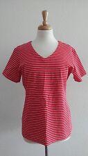 CAROLE LITTLE Women's Red Striped Shirt Sz M