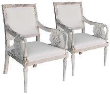 Paire de fauteuils style Empire en hêtre laqué blanc
