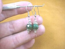(ee405-10) 10 mm Green Jade Canada gemstone 1 bead + silver caps dangle earrings