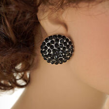 DAISY FUENTES Silver Tone with Faux CRYSTALS Round BLACK Stud EARRINGS