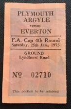 1974/75 original FA CUP 4th round match ticket PLYMOUTH ARGYLE v EVERTON