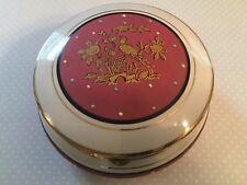 Ucagco Porcelain Powder Jar Trinket Box Hinged Lid Pink White Gold w/Polka Dots