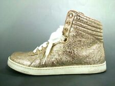 Auth GUCCI 409793 Gold Leather Womens Sneakers#36 1/2 ( US # 6)