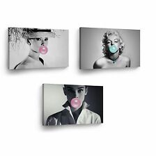 Audrey Hepburn and Marilyn Monroe Chewing Gum Canvas Print Wall Art Decor