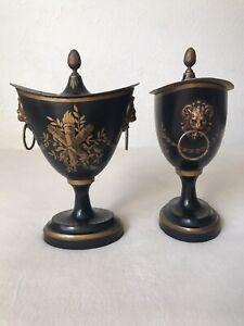 Antique French Tole Chestnut Urns