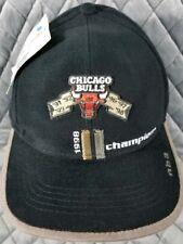 98101f598bb41 Vintage 1998 Chicago Bulls Black NBA Champions Adjustable Hat Cap Basketball