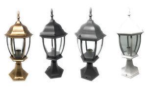 Lampione da giardino 49cm lanterna in vetro e27 luce da esterno alluminio es45