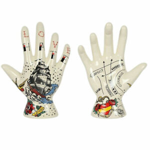 Palmistry Palm Tattoo Hand Ceramic Decorative Boho Ornament 19 cm Assorted