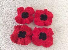 Crochet Flower Embellishment / Poppies/ / Remembrance X 4