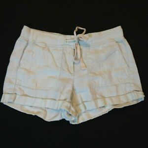 Lou & Grey shorts XS Light green 100% Linen Cuffed Pockets Drawstring womens