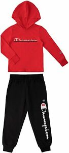 Champion Toddler 2T Boys Hoodie and Pants Fleece Jogger set, Red/Granite NWT