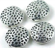 4 Silver Pewter Hammered lentil Dotted Beads 17mm ~ Lead-Free ~