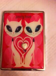 Hot Pink Pussy Love 1-Clip Cigarette Wallet Case Business Credit Card Holder
