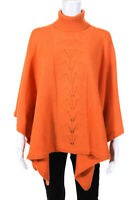 MAG By Magaschoni Womens Turtleneck Poncho Sweater Orange Size One Size