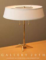 SLEEK! MID CENTURY MODERN BRASS STIFFEL DESK LAMP! ATOMIC VTG 50S DIFFUSER TABLE