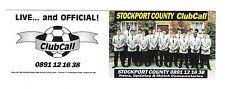 ClubCall Club Call Football Fixture List Card 1993-1994 Season Stockport County