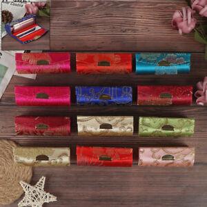 Lipstick Case Retro Embroidered Holder Flower Design With Mirror Packaging~JFRFR
