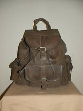Vintage Large Brown Leather Backpack Rucksack Shoulder Bag Purse