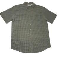 LL Bean Short Sleeve Button Down Shirt Men's Large Tall LT Flannel Plaid Green