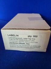 New Box Of 500 Jackson Hirsh Laminating Pouches Label Size 1 38 X 4 14