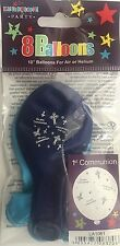 """1st Communion Blue 10"""" Balloons Decoration Party Celebrations Pack Of 8 Balloons"""